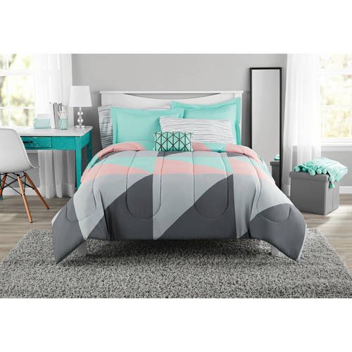 Mainstays Grey & Teal Bed in a Bag Bedding Set with BONUS Sheet